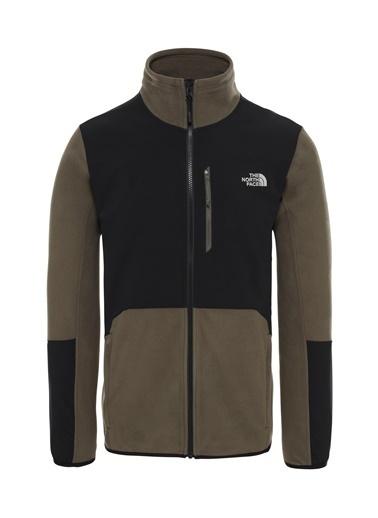 The North Face Glacier Pro Fullzip Erkek Sweatshirt Siyah/Yeşil Yeşil